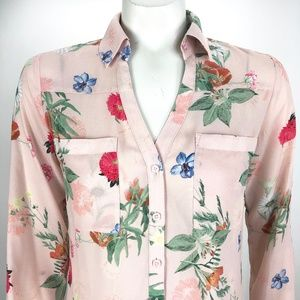 Express Portofino Floral Shirt Tab Sleeve Slim XS